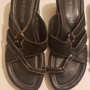No Boundaries Leather Black Wedge Sandals Sz 7